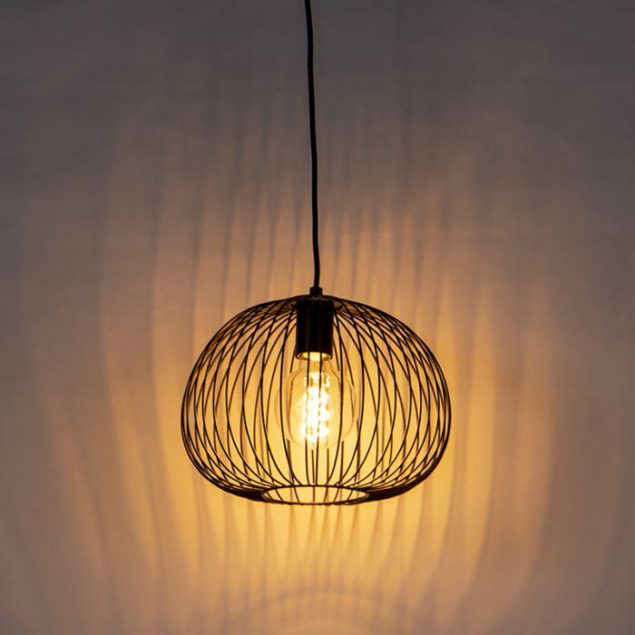 Lámpara-colgante-de-diseño-negra---Alambre-Masa