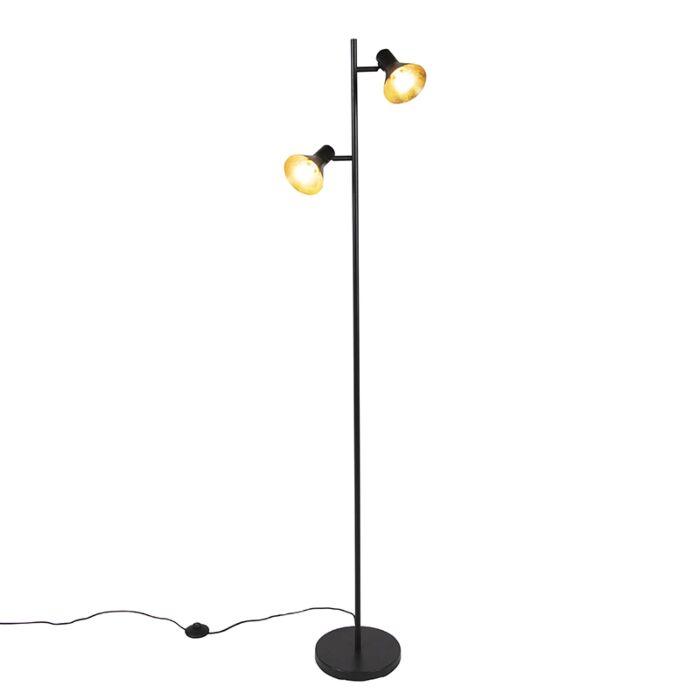 Lámpara-de-pie-moderna-negra/oro-2-luces---MAGNO