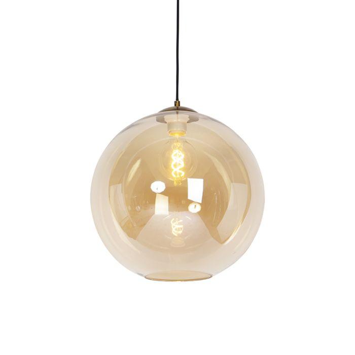 Lámpara-colgante-Art-Deco-latón-vidrio-ámbar-40cm---PALLOT