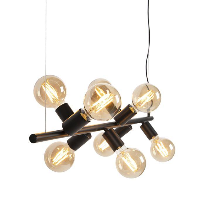 Lámpara-colgante-moderna-negra-8-luces---Facil-Tube