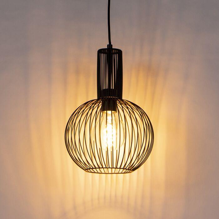 Lámpara-colgante-de-diseño-negra---Batidor-de-alambre