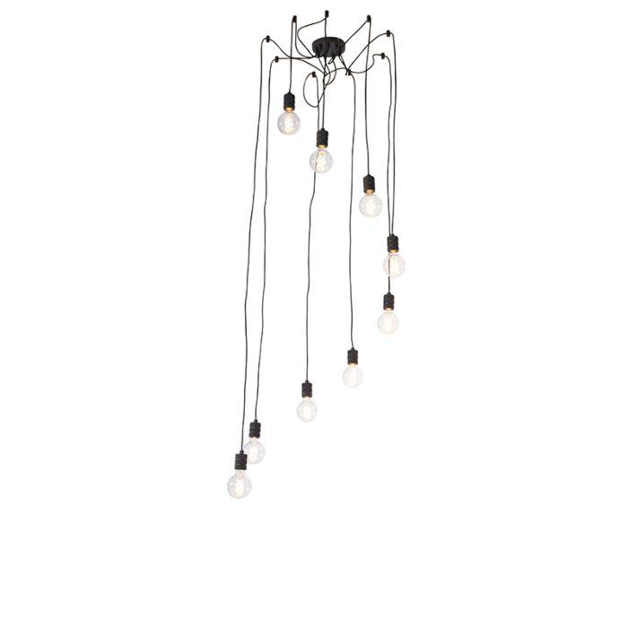 Lámpara-colgante-de-diseño-negra-9-luces---Cavalux