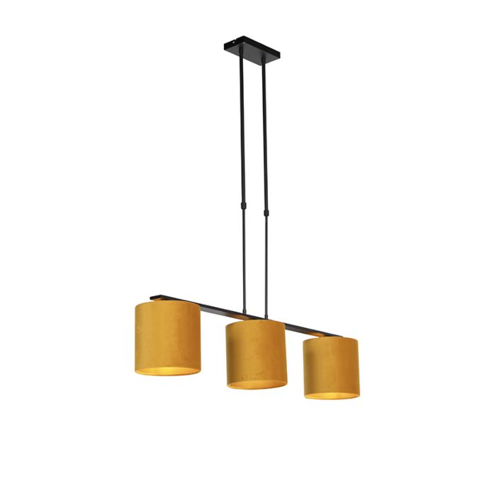 Lámpara-colgante-terciopelo-amarillo-interno-dorado---COMBI-3-DELUXE