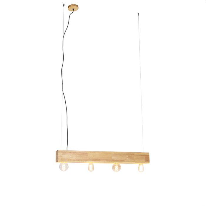 Lámpara-colgante-rural-madera-4-luces---Sema