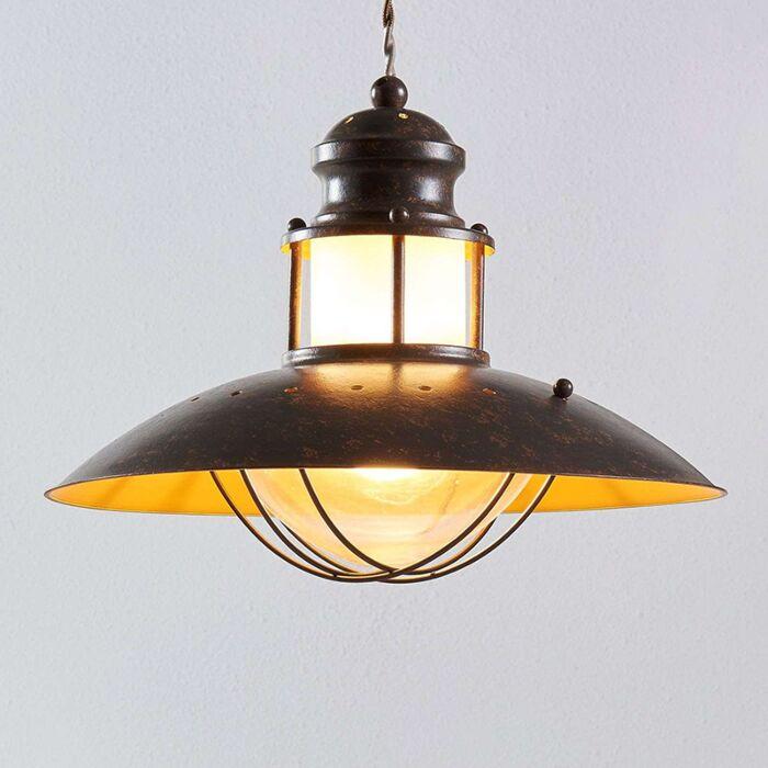 Lámpara-colgante-redonda-industrial-marrón-óxido-35-cm---Louisanne