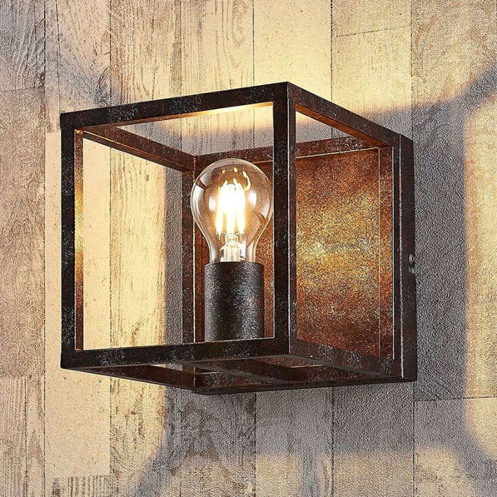Lámpara-de-pared-cuadrada-rural-óxido-marrón---Jaula