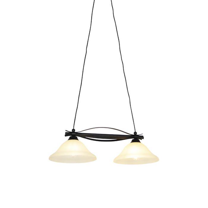 Lámpara-colgante-clásica-marrón-vidrio-beige-2-luces---PIRATA