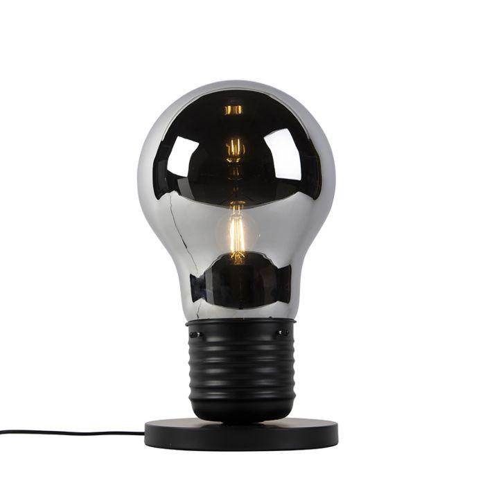 Lámpara-de-mesa-de-diseño-negra-con-cristal-ahumado---Nigrum