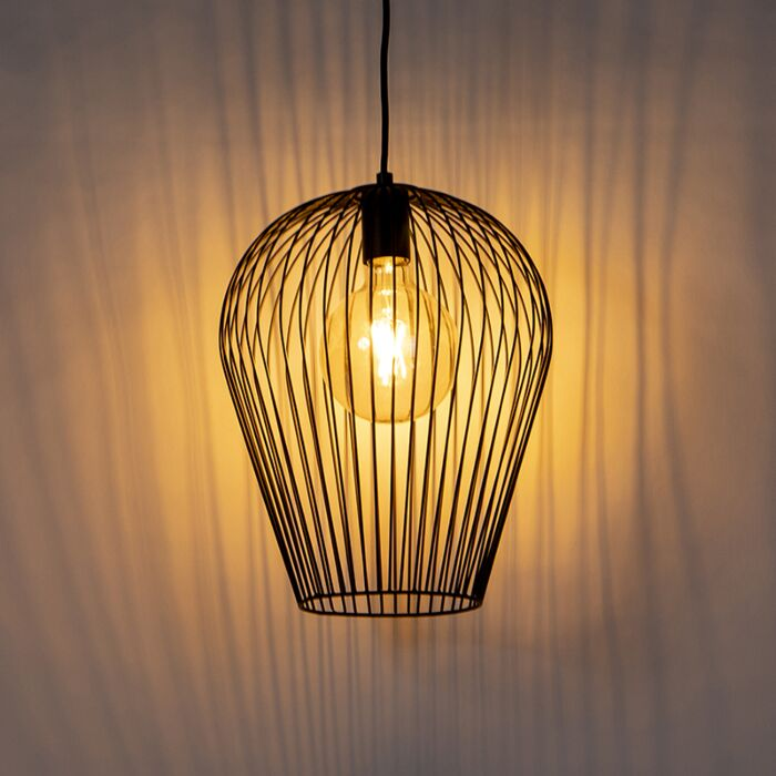 Lámpara-colgante-de-diseño-negra---Alambre-Ario