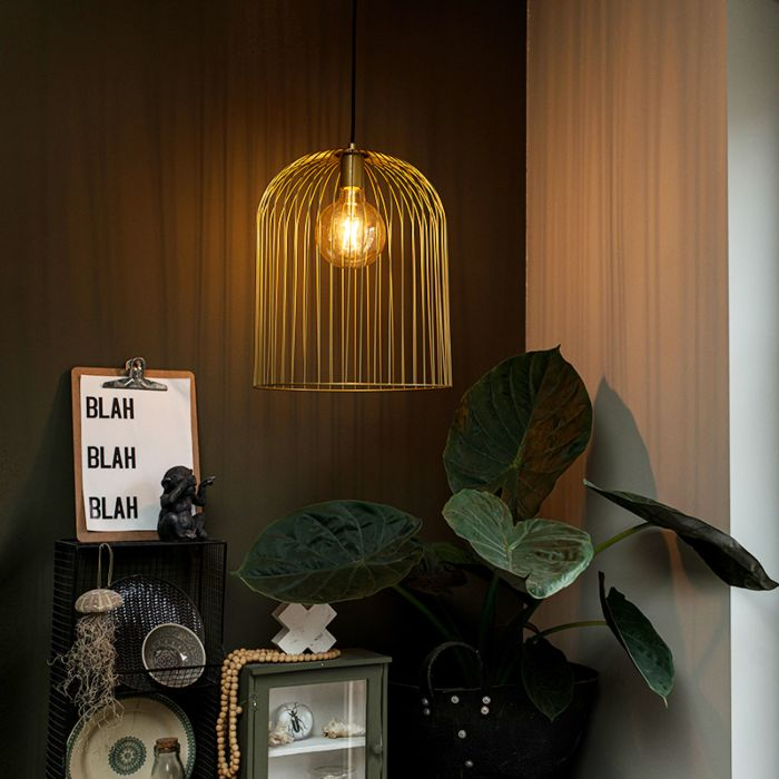 Lámpara-colgante-de-diseño-dorada---Knock-de-alambre