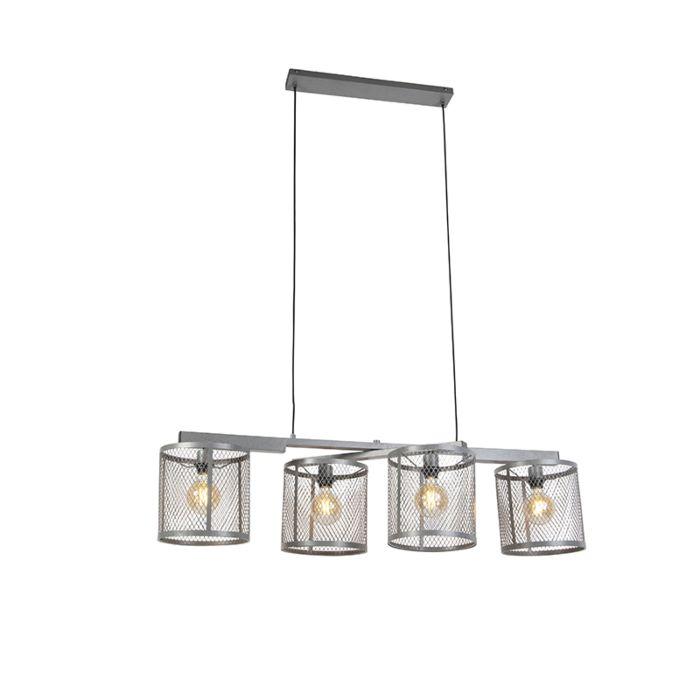 Lámpara-colgante-industrial-plata-antigua-4-luces---Jaula-Robusto