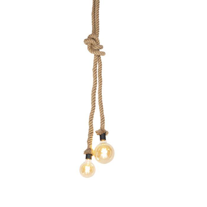 Lámpara-colgante-rural-de-cuerda-2-luz---Ropa
