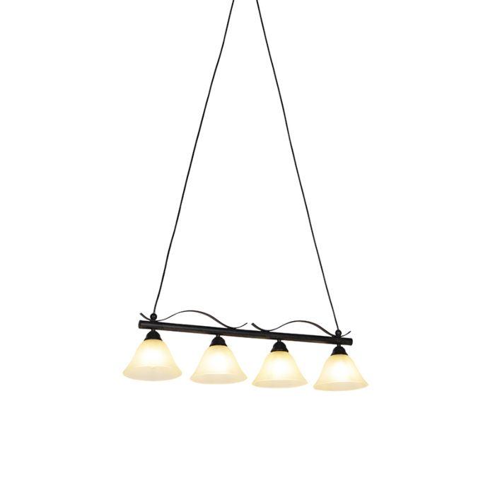 Lámpara-de-suspensión-clásica-marrón-con-vidrio-beige-4-luces---Pirata