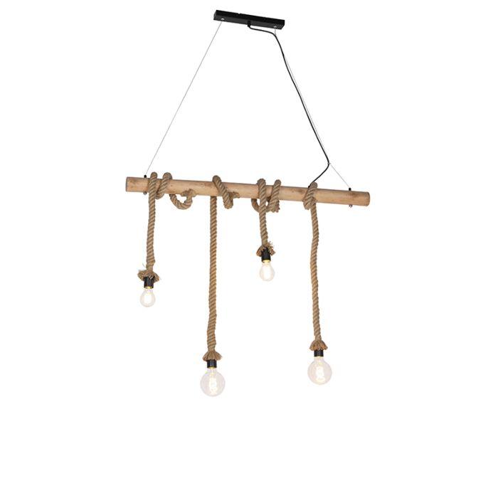 Lámpara-rústica-cuerda-4-luces---ROPA